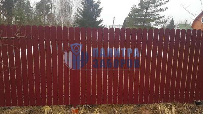 Забор из металлического штакетника покрытие с двух сторон 100 метров