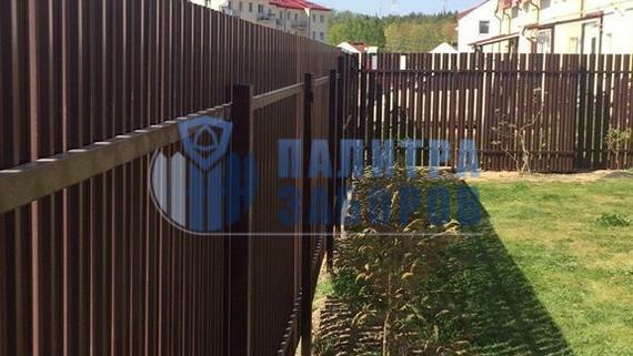 Забор из металлического штакетника с бетонированием столбов 100 метров
