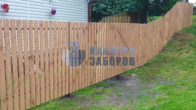 Забор из металлоштакетника под имитацию дерева 10 соток