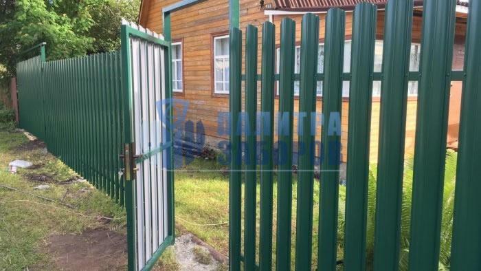 Забор из металлического штакетника с распашыми воротами и калиткой 12 соток