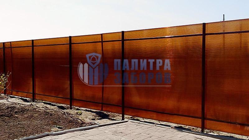 Забор из поликарбоната с забивными столбами 12 соток в Москве