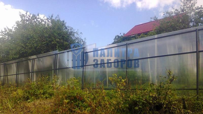 Забор из поликарбоната с забивными столбами 150 метров