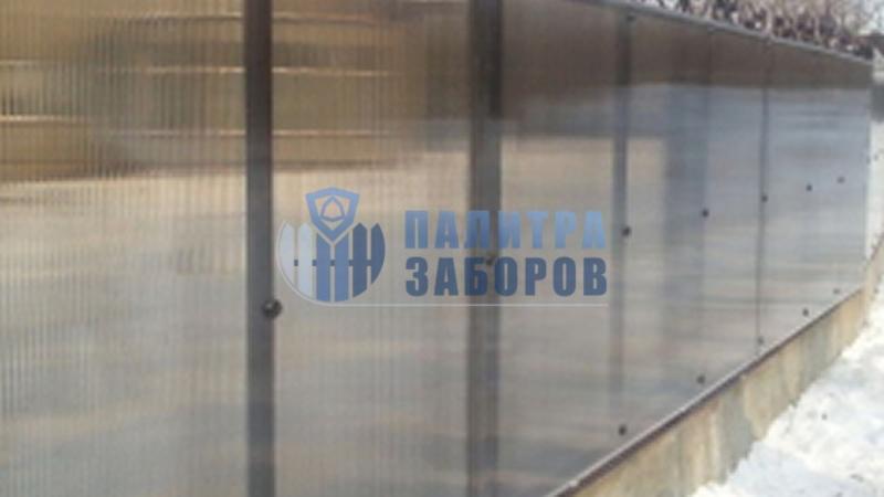 Забор из поликарбоната на ленточном фундаменте 150 метров