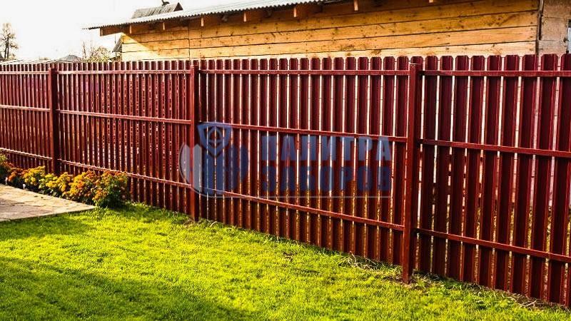 Забор из металлического штакетника покрытие с двух сторон 200 метров