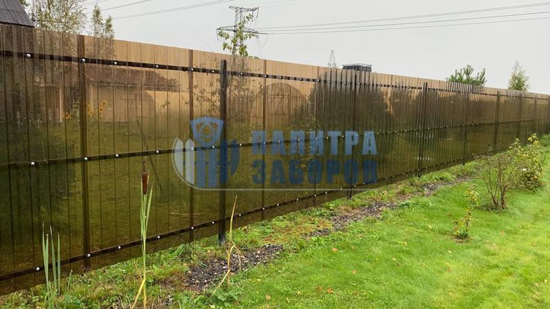 Забор из поликарбоната с забивными столбами 200 метров