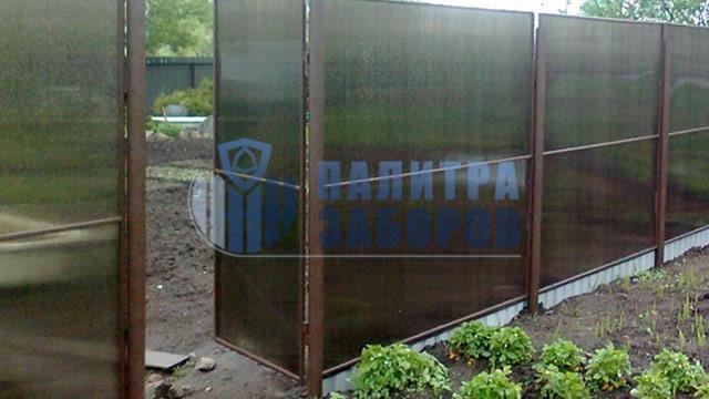 Забор из поликарбоната на ленточном фундаменте 30 метров