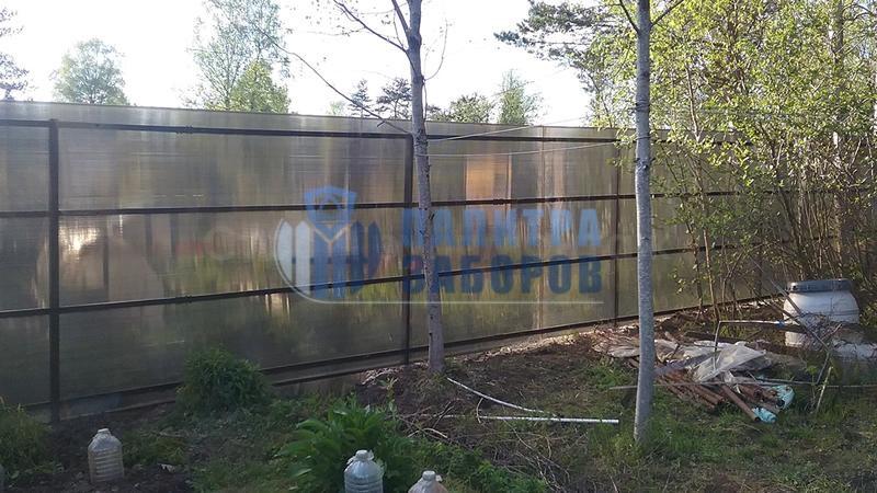 Забор из поликарбоната с забивными столбами 80 метров
