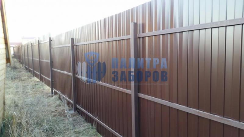 Забор из профнастила покрытие с двух сторон 50 метров в Москве