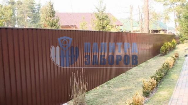 Забор из профнастила с утрамбовкой щебнем 8 соток