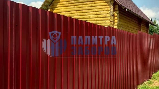 Забор из профнастила с забивными столбами 80 метров