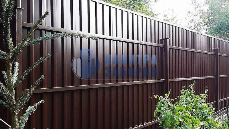Забор из профнастила покрытие с двух сторон 30 метров