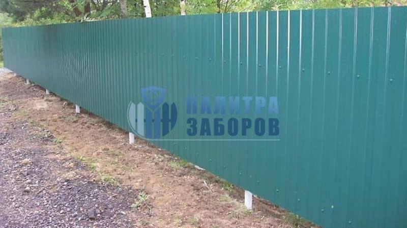 Забор из профнастила покрытие с двух сторон 80 метров