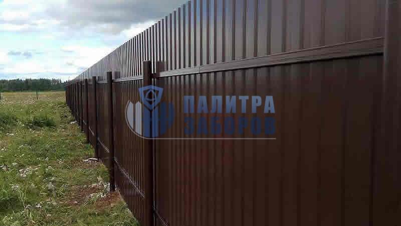 Забор из профнастила с бетонированием столбов 10 соток