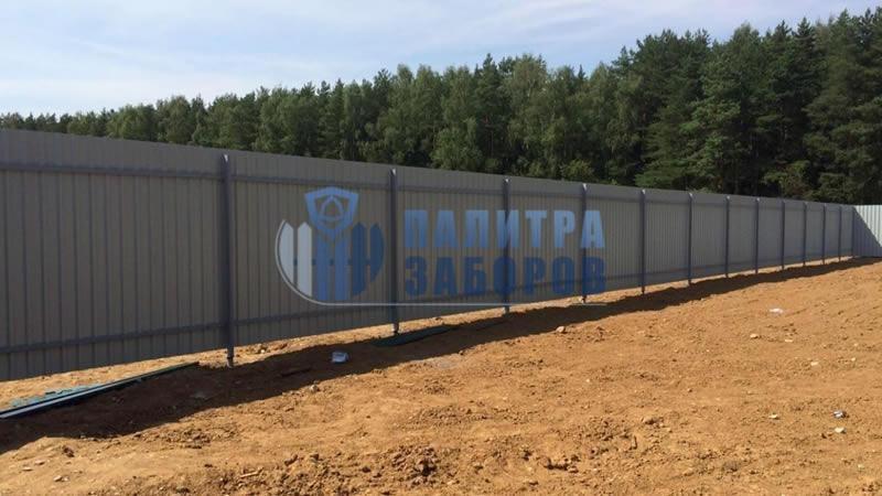 Забор из профнастила с бетонированием столбов 150 метров