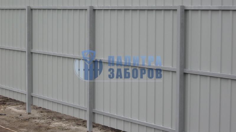 Забор из профнастила с бетонированием столбов 50 метров