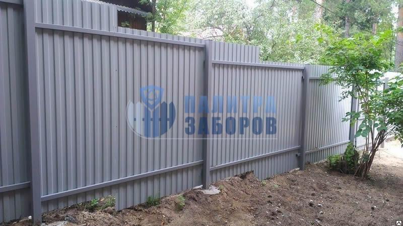 Забор из профнастила с бетонированием столбов 80 метров