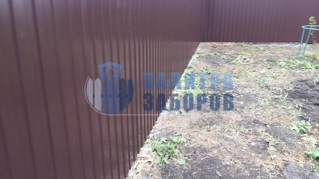Забор из профнастила с утрамбовкой щебнем 10 соток