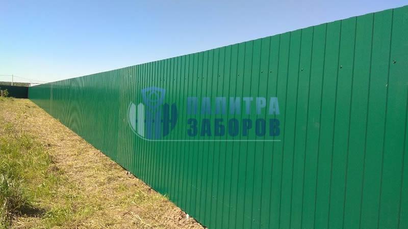 Забор из профнастила с утрамбовкой щебнем 150 метров