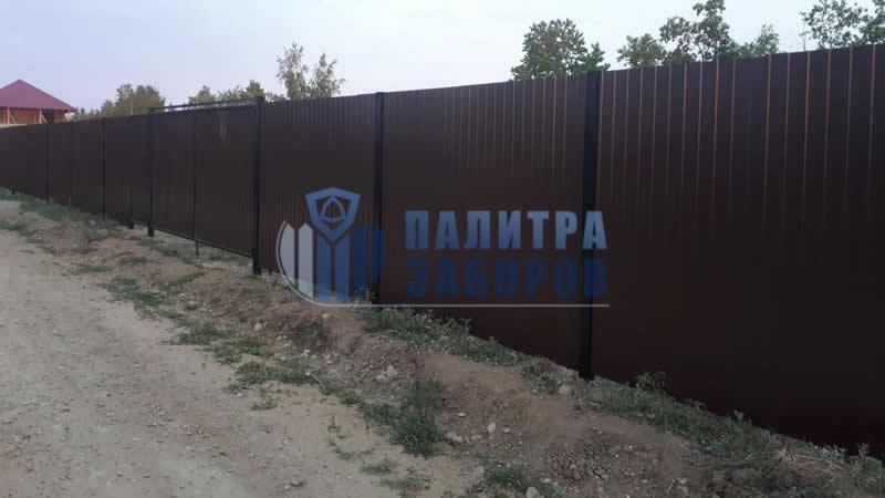 Забор из профнастила с утрамбовкой щебнем 200 метров