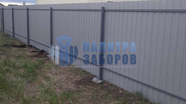 Забор из профнастила с утрамбовкой щебнем 6 соток