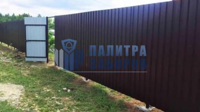 Забор из профнастила с утрамбовкой щебнем 80 метров