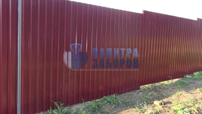 Забор из профнастила с забивными столбами 150 метров